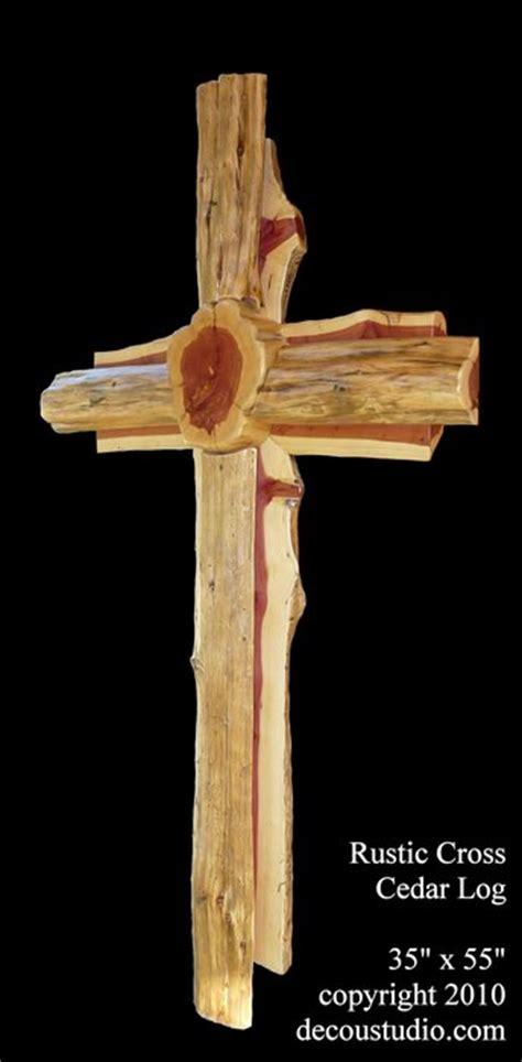 rustic cedar log chapel wall cross jills house caring