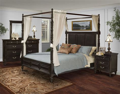 Canopy Bedroom Sets by Martinique Rubbed Black Canopy Bedroom Set With Drapes