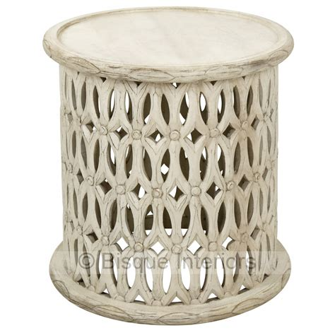 Carved Side Table White