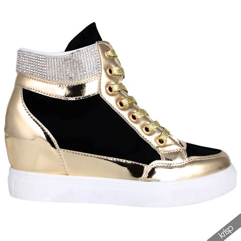 Sneaker Boots Stud womens studded concealed wedge trainers sneakers high tops ankle boots shoes