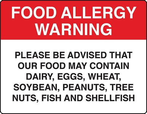 printable allergy alert poster food allergy warning sign osha4less
