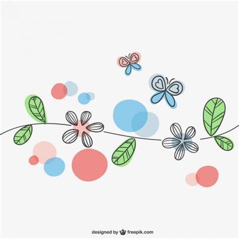 imagenes de mariposas y flores en caricatura flores y mariposas de primavera descargar vectores gratis