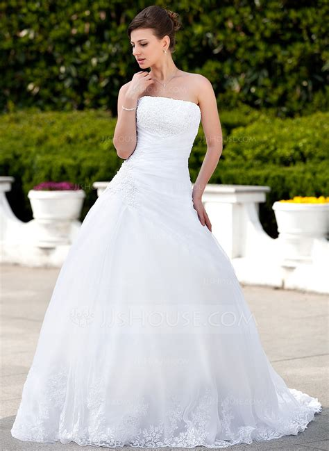 hochzeitskleid jjshouse ball gown strapless chapel train satin organza wedding