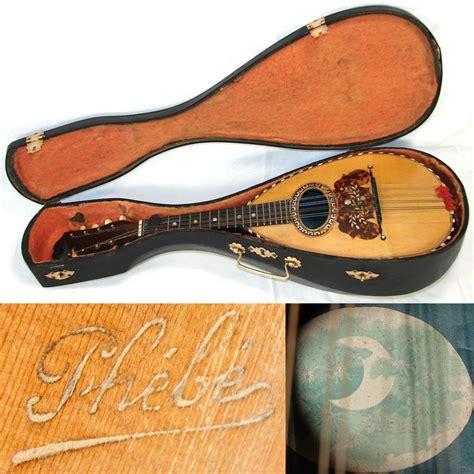 fine antique french phebe mandolin rosewood bowlback