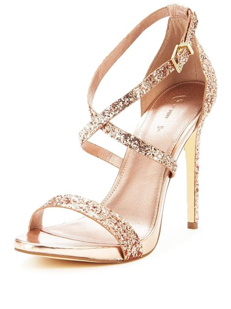 gold sparkly sandals v by caprice glitter heeled sandals gold