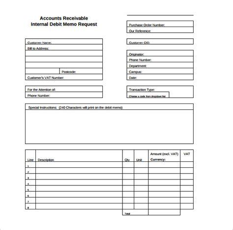 Credit Note Form Template Sle Debit Memo 8 Documents In Pdf