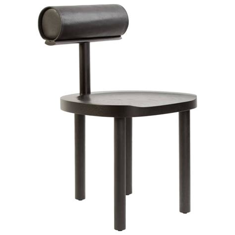 Black Upholstered Dining Chairs by Una Dining Chair In Black Stained Oak With Leather