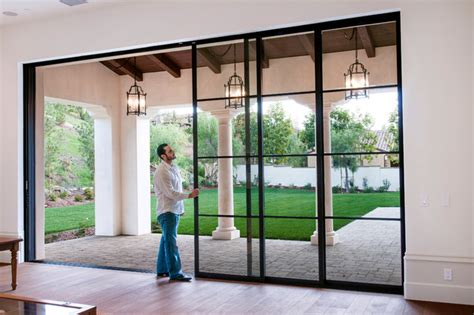Exterior Patio Sliding Doors Steel Pocket Sliding Doors Mediterranean Patio Orange County By Euroline Steel Windows