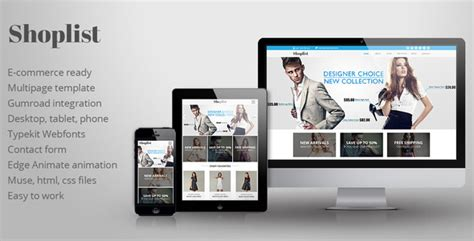 Themeforest Shoplist Ecommerce Muse Template Scripts Nulled Scriptznull Nl Adobe Muse Ecommerce Templates