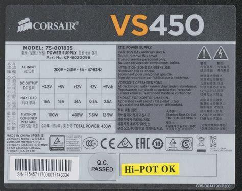 Psu Corsair Vs 450 corsair vs450