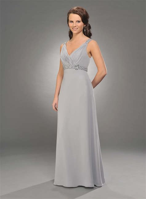 Silver Bridesmaid Dress by Silver Empire V Neck And Low Back Length