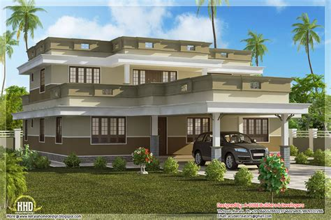 flat house design flat roof home design with 4 bedroom indian house plans