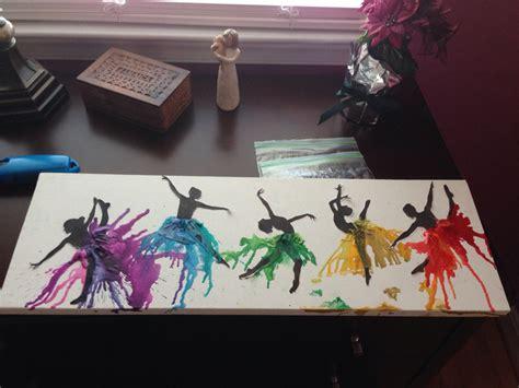 diy crayon crafts diy rainbow melted crayon canvas dancer silhouette feeling crafty