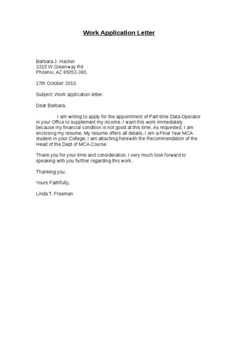 cover letter for work study application letter for work application letter for work