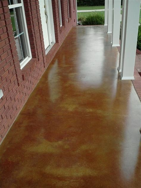 Acid Stained Concrete Front Porch   Traditional   Porch
