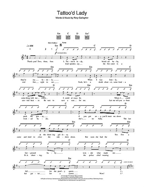 tattoo of your name chords rory gallagher tattoo d lady sheet music