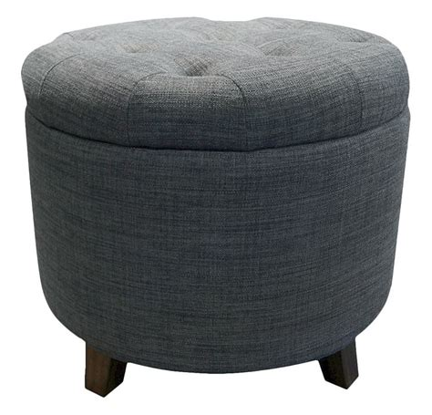 blue round ottoman 80 threshold tufted round storage ottoman in heathered