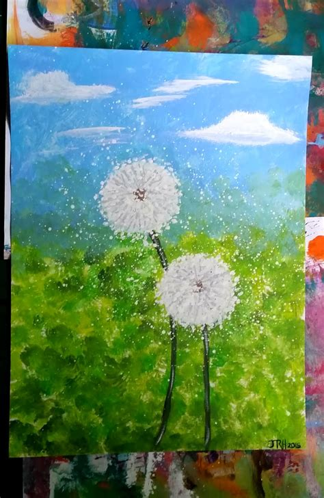 acrylic paint on canvas paper canvas paper acrylic painting dandelions two of a