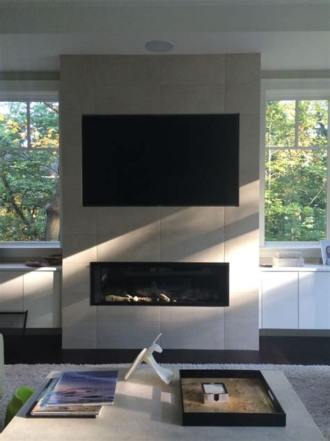 linear fireplace with tv above valor l2 1700 linear direct vent fireplace installed on