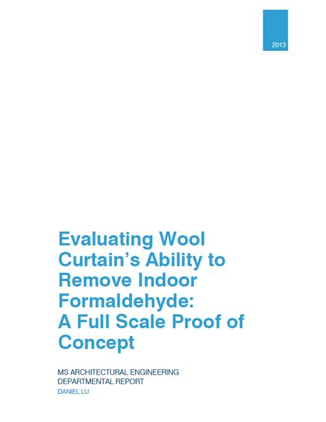 behind the formaldehyde curtain evaluating wool curtain s ability to remove indoor