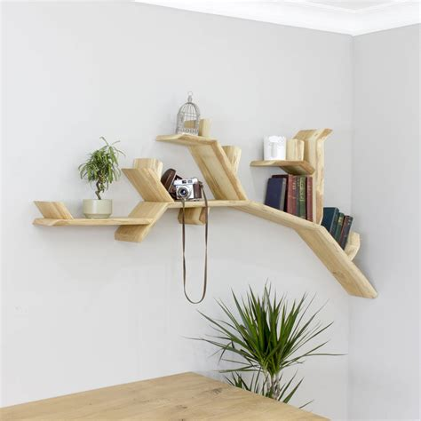 handmade tree branch wall shelf by bespoak interiors