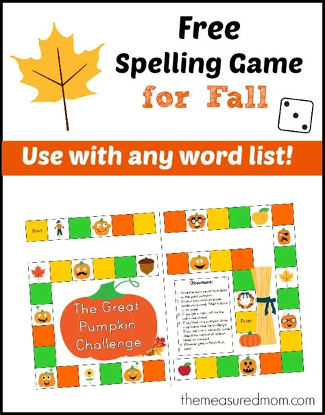 printable spelling games free spelling game for fall use with any word list