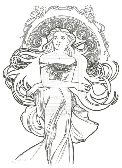 free printable art nouveau coloring pages art nouveau style 5 by id na on deviantart drawing