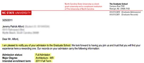 Acceptance Letter Nc State P Alford Beginnings