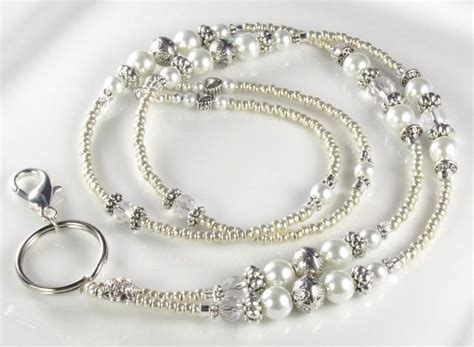 beaded lanyard antique pearl id badge holder by curlynetto