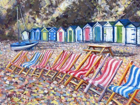 acrylic painting holidays uk seaside deckchairs huts original