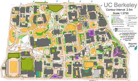 uc berkeley cus map uc berkeley sprint march 3rd 2013 orienteering map from bay area orienteering club baoc