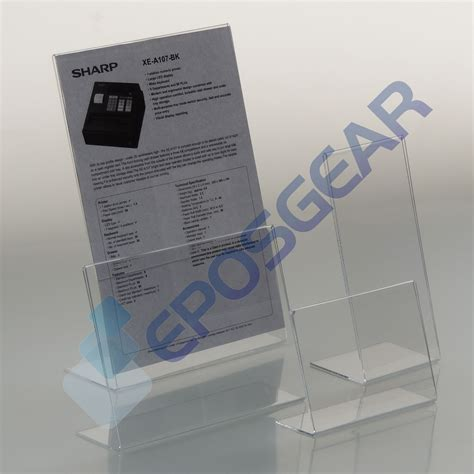 ral10 portrait free standing business card holder perspex plastic business card holders 25 a6 portrait perspex acrylic angled counter menu poster holder display stands ebay