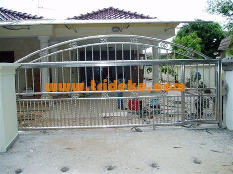 Pintu Pagar Stainless Steel   Canopy Kaca Tempered   Atap