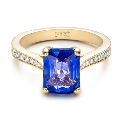 custom yellow gold and blue sapphire engagement ring 101388