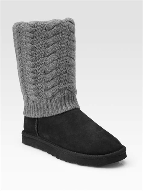 knit cuff boots ugg tularosa detachable cableknit cuff suede boots in gray