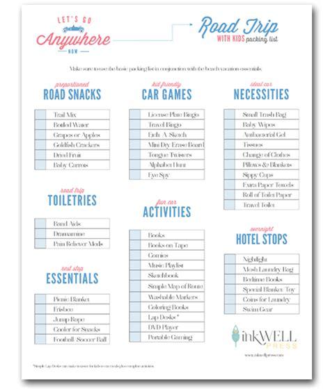 printable road trip packing checklist free download travel packing checklist packing