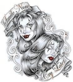 Laugh Now Cry Later Tattoos Outline by Mi Maleta De Recortes El Tatuaje