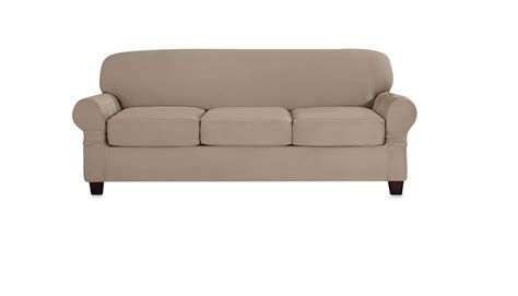 Sure Fit 3 Sofa Slipcover Sure Fit Heavyweight Stretch Suede 3 Individual Cushion