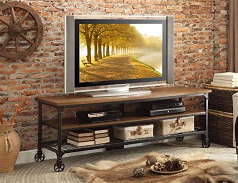 cottage style tv stand homelegance 50990 t two shelves cottage style tv stand with black metal frame furniture
