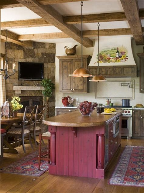 kitchen island red rustic kitchen muted red island but grayed barn wood