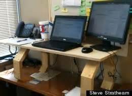 makeshift standing desk readers their standing work stations