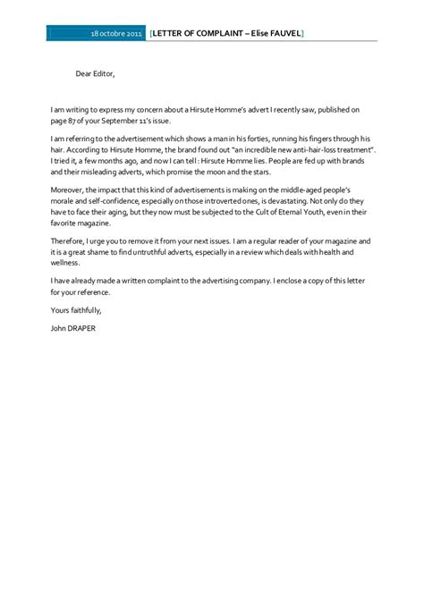 Complaint Letter Template False Advertising Anglais Write A Letter Of Complaint