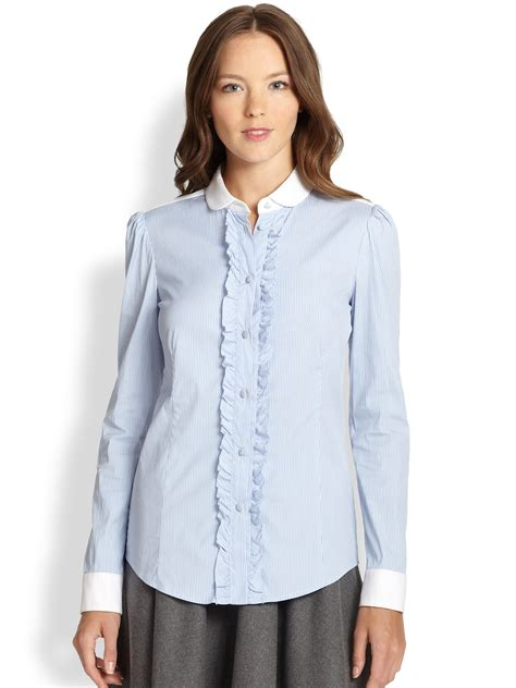 Blue Stripe Frill Embroidered Shirt Size Sml 1 valentino striped ruffle front blouse in blue light blue lyst
