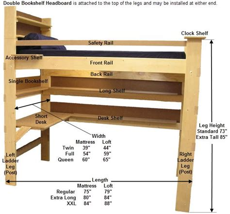 kits and plans for college bed lofts loft bed bunk beds
