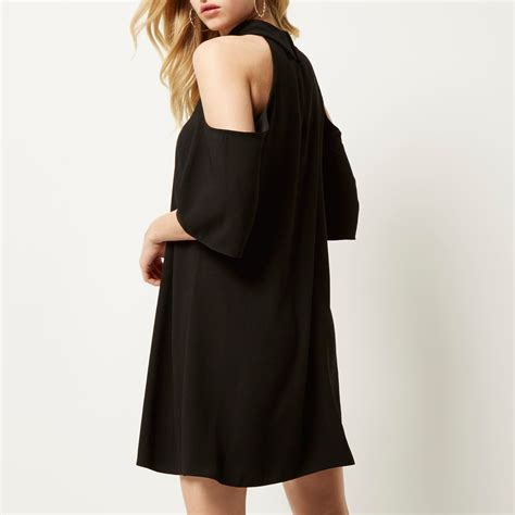 river island black swing dress river island black cold shoulder swing dress in black lyst