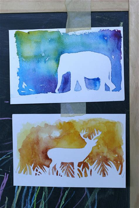 Halloween Paper Bag Crafts - watercolor silhouettes fun family crafts