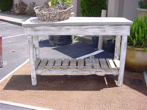 Rustic Outdoor Teak Console Table Made From Reclaimed Wood With Storage And Painted With White