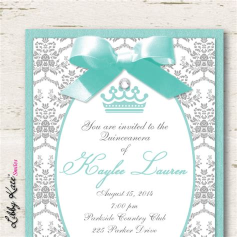invitations for a quinceanera templates quinceanera invitations sweet 16 sweet 15 invitation aqua