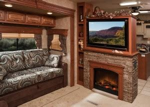 rv with fireplace electric fireplaces standard in kz s stoneridge rv business