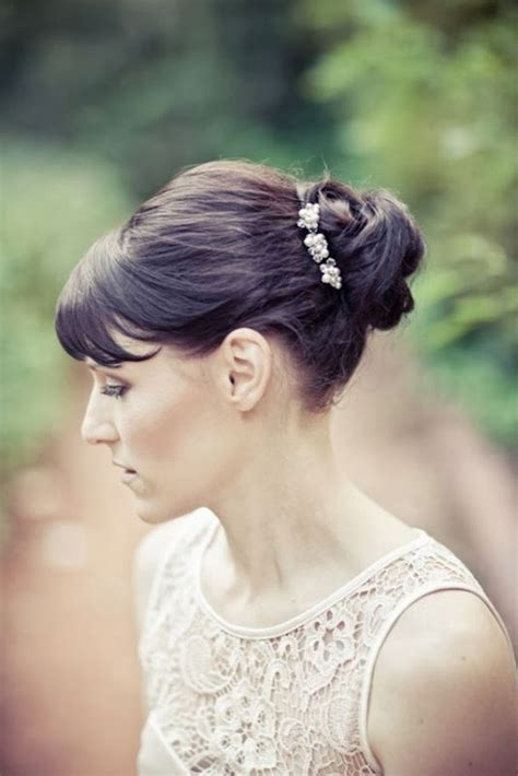 wedding hairstyles  fringes hairstyle  womens